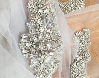 Exquisite Silever Setting Rhinestone Beaded Bridal Applique, Wedding Sash Bridal Belt Applique Headband Garters