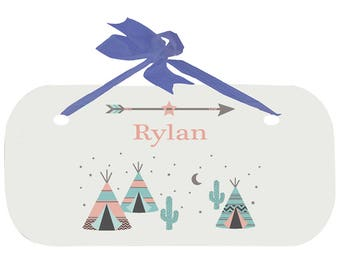 Personalized Boys Door Sign with Coral TeePee Design-wplaq-blu-242b