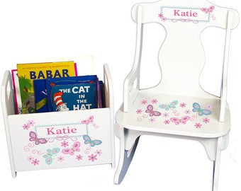 Personalized Puzzle Rocker and Book Caddy set with Pink and Aqua Butterfly Design Teal Turquoise Butterflies Reading Corner rknrd-300c
