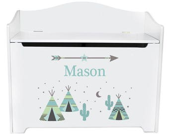 Personalized Toy Box Bench with Aqua TeePee Design-bench-whi-242a