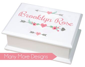 Personalized Jewelry Box - girls basic white jewelry box with name & design traditional ring holder great value boxes 1st Jewelry Box JEWEB