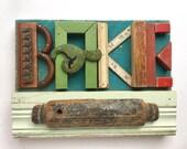 ON HOLD...........BAKE sign, kitchen sign, wood wall art, vintage rolling pin, Original Art by Elizabeth Rosen