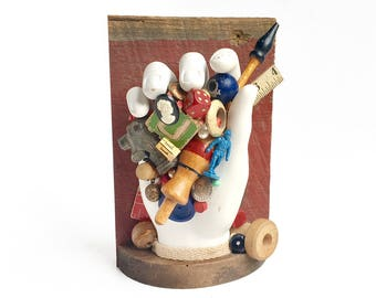 the PICKER (7), original mixed media assemblage, found object art, vintage flea market collection, by Elizabeth Rosen