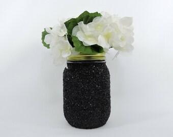 Black Glitter Mason Jar for Wedding Decor, Baby Shower Decor, Graduation Party Decor, Birthday Party Decor, Halloween Decor