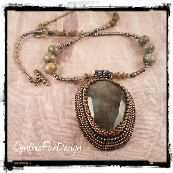 Large Bead Embroidered  Labradorite Crystal Pendant on a Labradorite and Pyrite Necklace