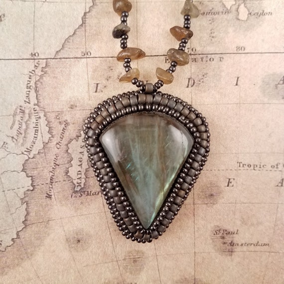 Large Labradorite Pendant on a Beaded Hematite and Labradorite Necklace
