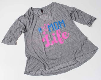 Microburn raglan #momlife, mom life, live mom t-shirt