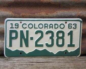 Vintage Colorado License Plate 1963 Vintage PN 2381 Green & White Aged Car Auto Hot Rod Old Metal License Plate Tag Altered Art Supply Sign