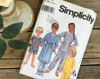 Children's Pyjamas pattern, two piece with robe pjs, Simplicity 5874 sizes 3-6, uncut