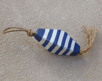 Beach Decor Vintage Nautical Wooden Blue White Lobster Buoy SeaStyle