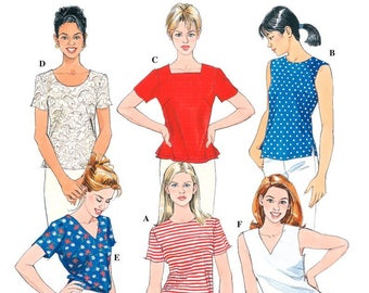 Uncut Simplicity 8523 Sewing Pattern Misses Tops Size K 8, 10, 12