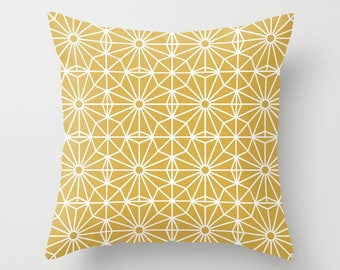 36 colours, Spicy Mustard and White, Asymmetric Pattern Pillow, Mid Century Modern decor, Nordic, Faux Down Insert, Indoor or Outdoor cover