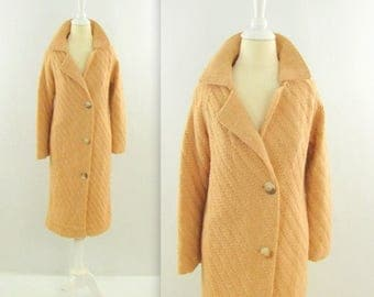 SALE Vintage 1960s Long Hand Knit Coat in Nude Peach - Medium