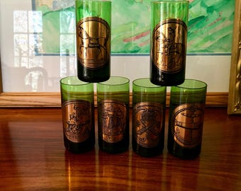 Vintage Green and Gold Cordials, Shot Glasses, set of 6, Horse, Anchor, Boat, Cannon Motif