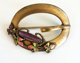 Art Nouveau Sash Pin, Antique Brooch, Faceted Amethyst Glass Stone, Leaves, Cutout Oval, Signed GLP Co