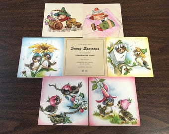 """Vintage 40's  """"SAUCY SPARROW CARDS"""" by Brownie Creations Lithographed BeAuTiFuLlY from Water Color Originals"""