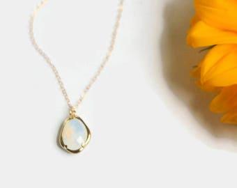 White Opal Necklace - 14 Karat Gold Necklace 14k White Opal Stone