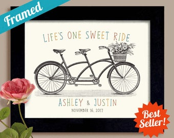 Gift for Couple One Sweet Ride Personalized Wedding Gift Unique Engagement Gift Mr and Mrs First Anniversary Framed Bicycle for Two Decor