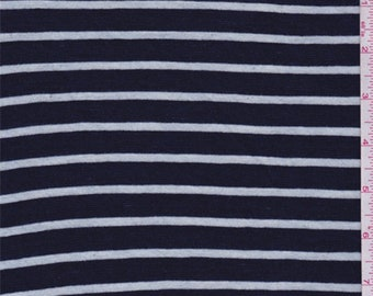 Blue/White Stripe Cotton Knit, Fabric By The Yard