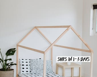 House Bed - TWIN Size, Made in the USA, Wood Bed, Nursery, Twin Mattress, wooden, natural wood, modern, floor bed, twin mattress
