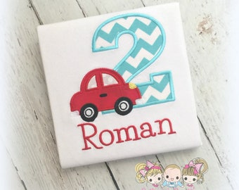 Car birthday shirt - 1st birthday shirt - car themed shirt - little red car birthday shirt - boys birthday shirt - personalized shirt
