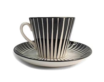 Mid Century Modern Teacup and Saucer Set Upsala Ekeby Zebra Eugene Trose Danish Hand Painted Black and White Scandinavian Modern Teacup