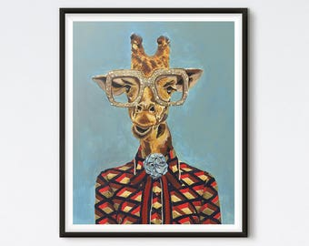 Gucci Giraffe - Giraffe Painting - Fashion Print - Canvas Art - Funny Art - Fashion Art - Gucci - Animal Art - Animal Painting - Art Prints