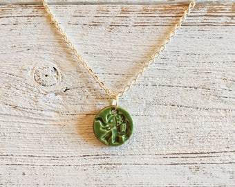 Ceramic Elephant Pendant, Green, Unique Gift, Zen, Boho, Gift for Her, Peace, Ceramics, Elephant Jewelry, Ceramic Jewelry