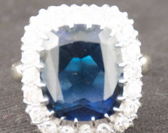 Vintage Sapphire Diamond Engagement Ring Size 7