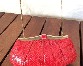 15%OFF VACATION SALE Authentic Vintage Judith Leiber Red Shoulder Bag Clutch Purse
