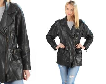 Leather Motorcycle Jacket 80s Black Biker Long Line Jacket Distressed 1980s Vintage Moto Punk Rock Hipster Coat Belted Zippered Unisex Large