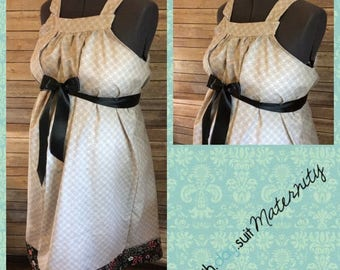 Memorial Day Sale! Maternity Hospital Gown- Gray with circles, black pink gray floral band