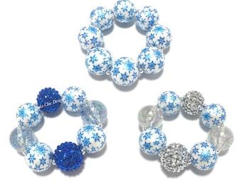 Toddler or Girls Blue Snowflake Chunky bracelet - Royal Blue and White Bracelet - Silver Snowflake Bracelet - Snowflake Birthday - Holiday