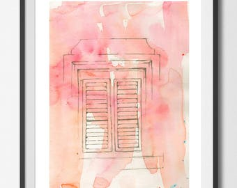 Day 026  'CHATTEL House Window' white Large ART PRINT Home Decor Living room bedroom Meditation Nursery gift for her By The Urban Tiger