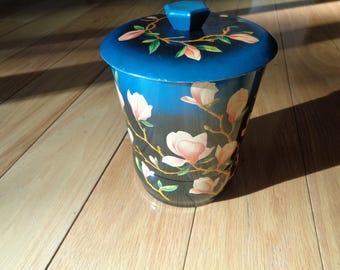 Vintage Pink Magnolia Floral Printed Tin on a Teal Blue colored background, Made in England in Vintage Condition, Decorative and FUNctional