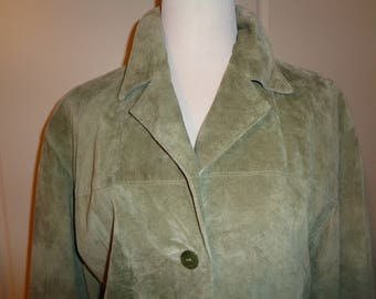 Vintage Sage Green Suede Car Length Coat, Size XL Female,  Made of Machine Washable Suede Fabric in Very Good Vintage Condition