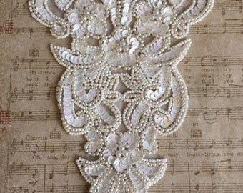 White Sequined Floral Applique