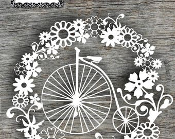 Penny Farthing Wreath papercut template- (commercial use)