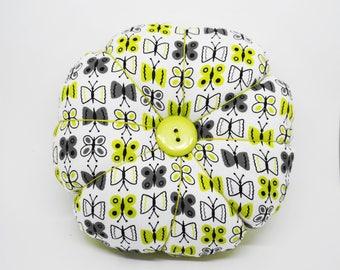 Butterfly and Polka Dots Pincushion, Large Flower Pincushion, Green Black & White Butterfly and Polks Dot Pincushion with 2 decorative pins