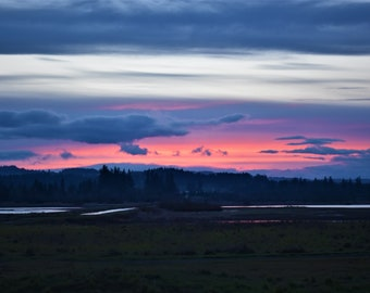 Sunset over the ponds in the Tualatin Wildlife Refuge in the Willamette Valley in Oregon.