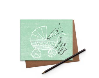 Congrats - Baby Carriage - New Baby - Funny Card - Digitally Printed A2 Cards w/ envelope