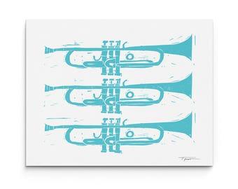 Three Trumpets - Wall Art - Musical Instrument Illustration - Digitally Printed Wall Decor - Giclee Print - Black, Turquoise