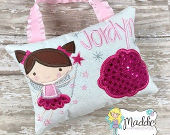 Girls Tooth Fairy Pillow, Personalized, Embroidered, Princess Tooth Fairy Pillow, Keepsake Tooth Fairy Pillow, Girls Tooth Pillow,