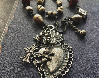 RESERVED: Sacred heart, milagro necklace | ex voto necklace, Milagros necklace, amulet necklace, assemblage necklace, heart Milagros