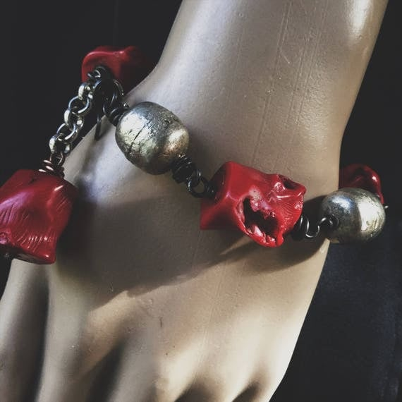 Red coral and African silver amulet bracelet