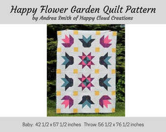 Happy Flower Garden Quilt PDF Pattern, Baby, Crib,Toddler size, Throw Size, floral, flower, half square triangles, flying geese, easy