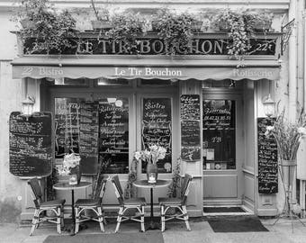 Paris Black and White Photo - Le Tir Bouchon Bistro, Fine Art Photograph, Home Decor, Large Wall Art, Gallery Wall Art