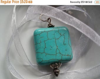 On Sale at Etsy Turquoise Pendant Necklace, 29x7mm Square Turquoise (Howelite) Pendant, 16in Lt Pink Organza Ribbon, Silver Lobster Claw Clo