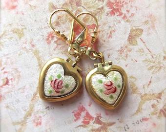 Heart Earring, Heart Locket Drop, Guilloche Heart Locket, Locket Earring, Dresden Rose Guilloche, Guilloche, Rose Earring, Vintage Earrings