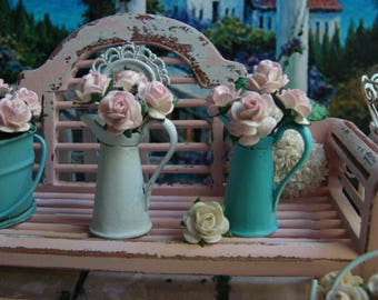 Dollhouse Miniature Shabby Chic Vintage French Victorian Style Metal Tall Turquoise Jug Pitcher with Pale Pink Paper Roses